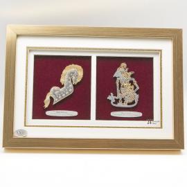 """[645] Kuda Kepang & Wayang Kulit (Gold) (13"""" x 9"""" inches)"""