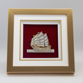 "[884G] Sailing Boat (Gold) (8"" x 8"" inches)"