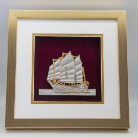 "[885G] Sailing Boat (Gold) (10"" x 10"" inches)"