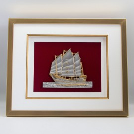 "[886G] Sailing Boat (Gold) (16' 1/2"" x 13' 1/2"" inches)"
