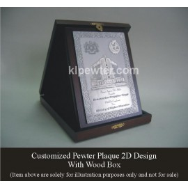 Customized Pewter Plaque with Wood Box