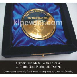 Customized 24K Gold Plated Pewter Medal with Velvet Box