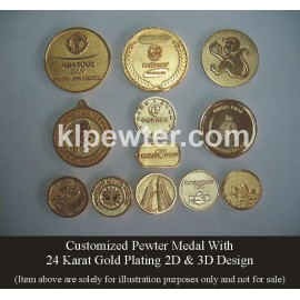 Customized 24K Gold Plated Pewter Medal