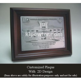 Customized Pewter Plaque with 3D Design