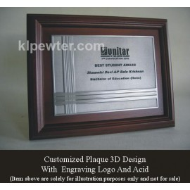 Customized Pewter Plaque with Wood
