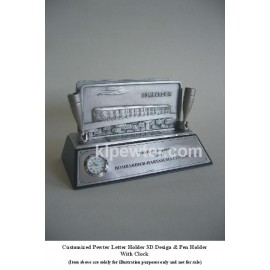 Customized Pewter Card & Pen Holder