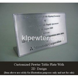Customized Pewter Plaque